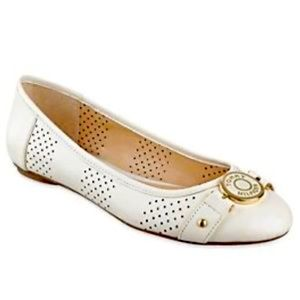 TOMMY HILFIGER Polena Cream White Flats Perforated